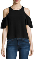 Milly Flutter-Sleeve Tank, Black