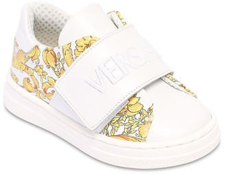 Versace Baroque Print Faux Leather Sneakers