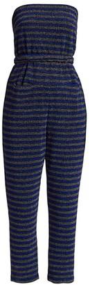 Rachel Comey Wayne Glitter Stripe Strapless Jumpsuit
