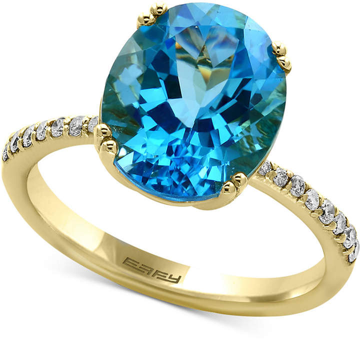 Effy Blue Topaz (5-9/10 ct. t.w.) & Diamond (1/8 ct. t.w.) Ring in 14k Gold