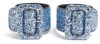 ATTICO The Glitter-embellished Ankle Straps - Womens - Blue