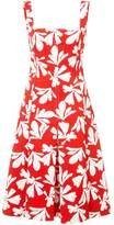 Oscar de la Renta leaf-print flared midi dress