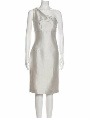 Roland Mouret One-Shoulder Midi Length Dress Silver