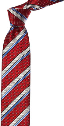 Canali Red & Blue Stripe Silk Tie