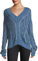 Rag & Bone Lucie V-Neck Pointelle Lacing Sweater