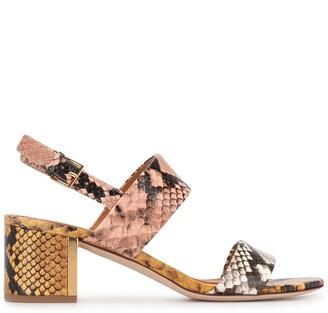 Tory Burch Block-Heel Snakeskin-Effect Sandals