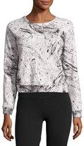 Koral Activewear Equate Marble-Print Sweatshirt, White Pattern