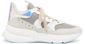 Alexander McQueen Raised-sole Suede And Leather Trainers - Mens - White Multi