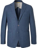 Canali Navy Knitted Cotton Blazer