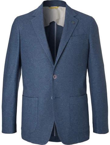 Canali Navy Knitted Cotton Blazer