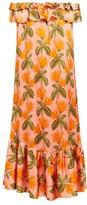Borgo de Nor Agata Floral-print Silk-satin Midi Dress - Womens - Orange Multi