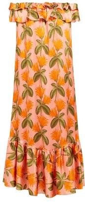 Borgo de Nor Agata Floral-print Silk-satin Midi Dress - Orange Multi