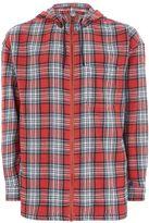 Topman Red Check Hooded Shirt