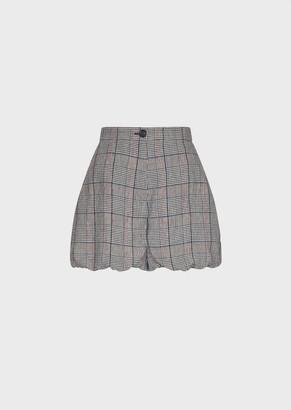 Emporio Armani Glen Plaid Linen Balloon Shorts