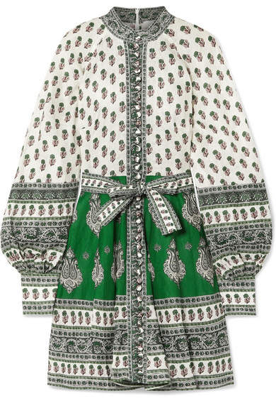 Zimmermann Amari Printed Linen Mini Dress - Green