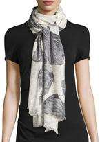 Neiman Marcus Marble Wings Scarf, Gray Multi