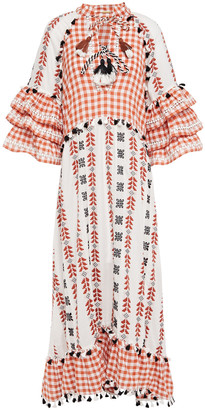 Dodo Bar Or Ruffled Broderie Anglaise-trimmed Embroidered Cotton-gauze Midi Dress