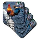 3dRose cst_1124_4 Rooster Ceramic Tile Coasters, Set of 8
