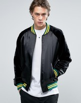 Asos Bomber Jacket With Contrast Rib in Black