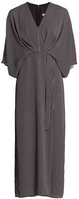 Halston Striped Kimono-Sleeve Dress