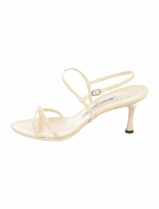 Manolo Blahnik Leather Ankle Strap Sandals Yellow