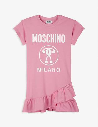 Moschino Logo-print ruffle-hem cotton T-shirt dress 4-14 years