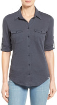 Caslon Roll Sleeve Cotton Knit Shirt (Petite)
