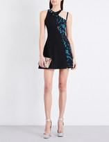Versus Graphic-print contrast panel crepe dress