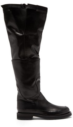 Ann Demeulemeester Leather Over-the-knee Boots - Black