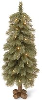 National Tree 30 Inch Feel Real Bayberry Spruce Blue Tree with 35 Warm White Battery Operated LED Lights with Timer in Cross Faux Wood Base (PEBYB1-319-30B1)