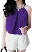 uxcell® Lady Chic Adjustable Strap Solid Color Sleeveless Blouse