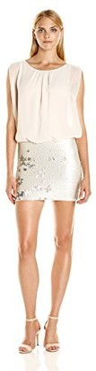 Aidan Mattox Aidan Women's Sleevless Chiffon Blousson Cocktail Dress with Flip Stretch Sequin Skirt