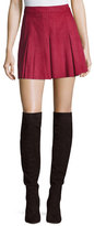 Alice + Olivia Lee Pleated Suede Mini Skirt, Burgundy