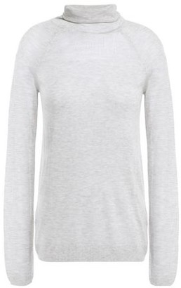 J Brand Paneled Open-knit Turtleneck Top