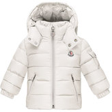 Moncler Jules Zip-Front Puffer Coat, White, Size 12M-3