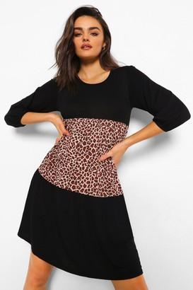 boohoo Leopard Print Colour Block Smock Dress
