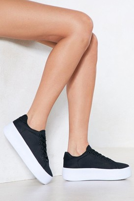 Nasty Gal Womens Platform Sole Trainers with Lace-up Closure at Front - Black - 5, Black