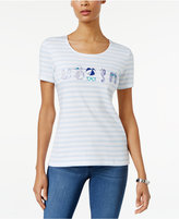 Karen Scott Striped Beach Graphic T-Shirt, Only at Macy's