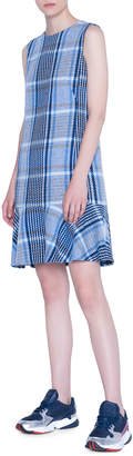 Akris Punto Square-Plaid Tweed Flounce-Hem Shift Dress