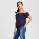 Merona Women's Off the Shoulder Lace Sleeve Top
