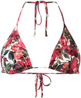 Dolce & Gabbana rose print triangle bikini top - women - Polyamide/Spandex/Elastane - IV
