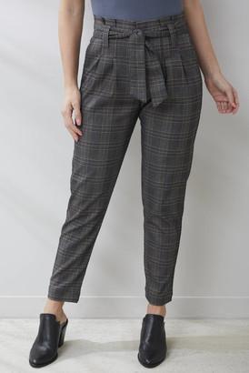 Olivaceous Plaid Paperbag Trouser Pant Grey Multi S