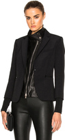 Veronica Beard Scuba Schoolboy Blazer with Leather Dickey