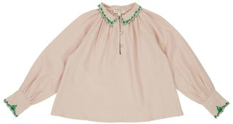 Caramel Ruff Embroidered Blouse (8-12 Years)