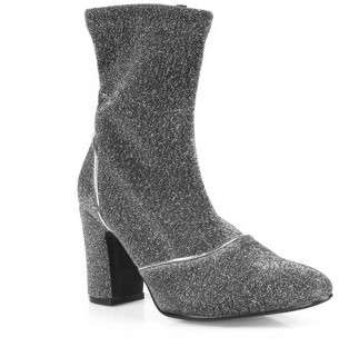 Nature Breeze Women's Stretch Sparkle Booties in Silver
