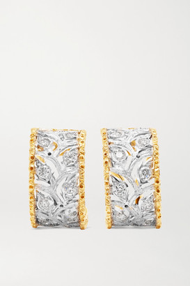 Buccellati Ramage 18-karat White And Yellow Gold Diamond Hoop Earrings - one size