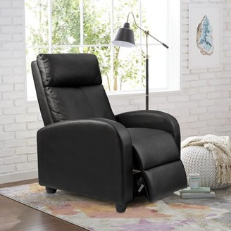 Walnew Single Massage Recliner, Black Faux Leather