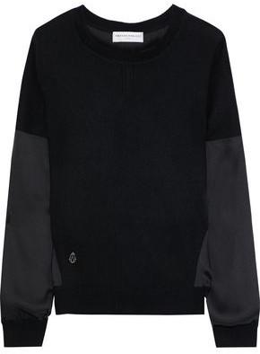Amanda Wakeley Satin-paneled Cashmere And Wool-bend Top