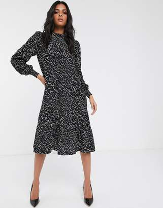 Vila midi skater dress with high neck in black spot print