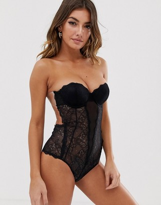 Fashion Forms lace backless strapless body-Black